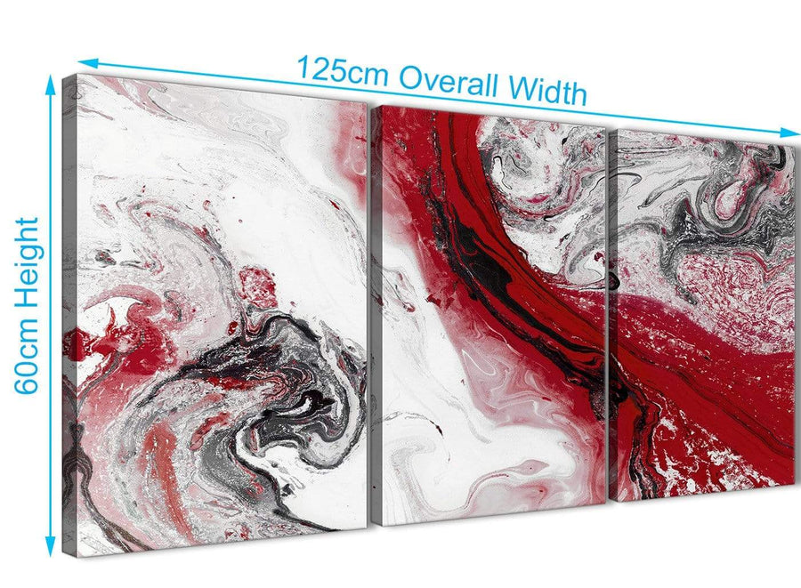 Quality 3 Panel Red and Grey Swirl Hallway Canvas Wall Art Accessories - Abstract 3467 - 126cm Set of Prints