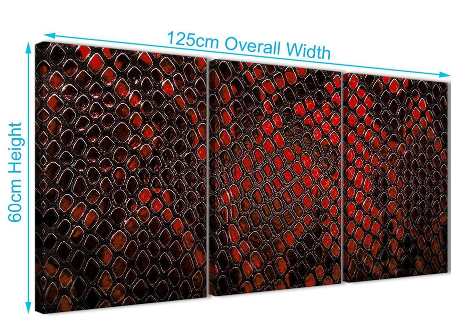 Quality 3 Panel Red Snakeskin Animal Print Kitchen Canvas Pictures Accessories - Abstract 3476 - 126cm Set of Prints