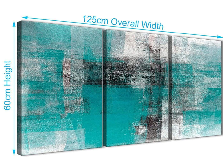 Quality 3 Piece Teal Black White Painting Kitchen Canvas Wall Art Decor - Abstract 3399 - 126cm Set of Prints
