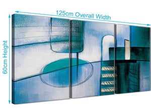 Quality 3 Panel Teal Cream Painting Kitchen Canvas Wall Art Accessories - Abstract 3417 - 126cm Set of Prints