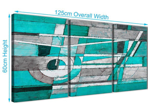 Quality 3 Piece Turquoise Grey Painting Kitchen Canvas Pictures Accessories - Abstract 3403 - 126cm Set of Prints