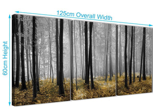 Quality 3 Panel Yellow and Grey Forest Woodland Trees Dining Room Canvas Wall Art Accessories - 3384 - 126cm Set of Prints