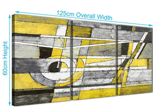Quality 3 Piece Yellow Grey Painting Kitchen Canvas Pictures Accessories - Abstract 3400 - 126cm Set of Prints
