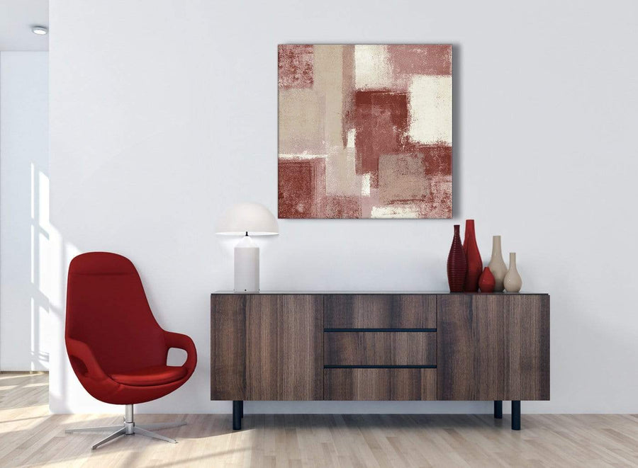 Red and Cream Abstract Bedroom Canvas Pictures Decorations 1s370l - 79cm Square Print