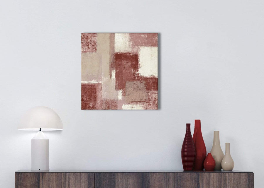 Red and Cream Kitchen Canvas Pictures Accessories - Abstract 1s370s - 49cm Square Print