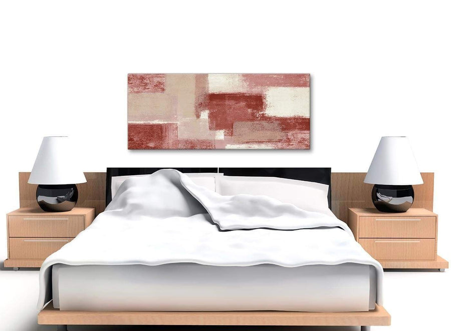 Red and Cream Living Room Canvas Wall Art Accessories - Abstract 1370 - 120cm Print