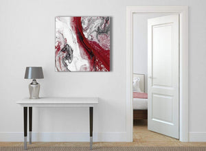 Red and Grey Swirl Abstract Living Room Canvas Pictures Decorations 1s467l - 79cm Square Print