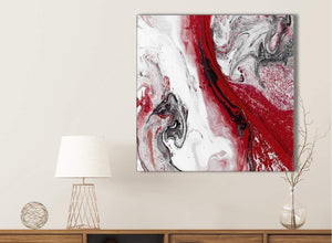 Red and Grey Swirl Bathroom Canvas Wall Art Accessories - Abstract 1s467s - 49cm Square Print
