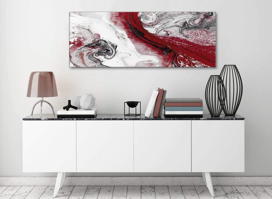 Red and Grey Swirl Bedroom Canvas Pictures Accessories - Abstract 1467 - 120cm Print