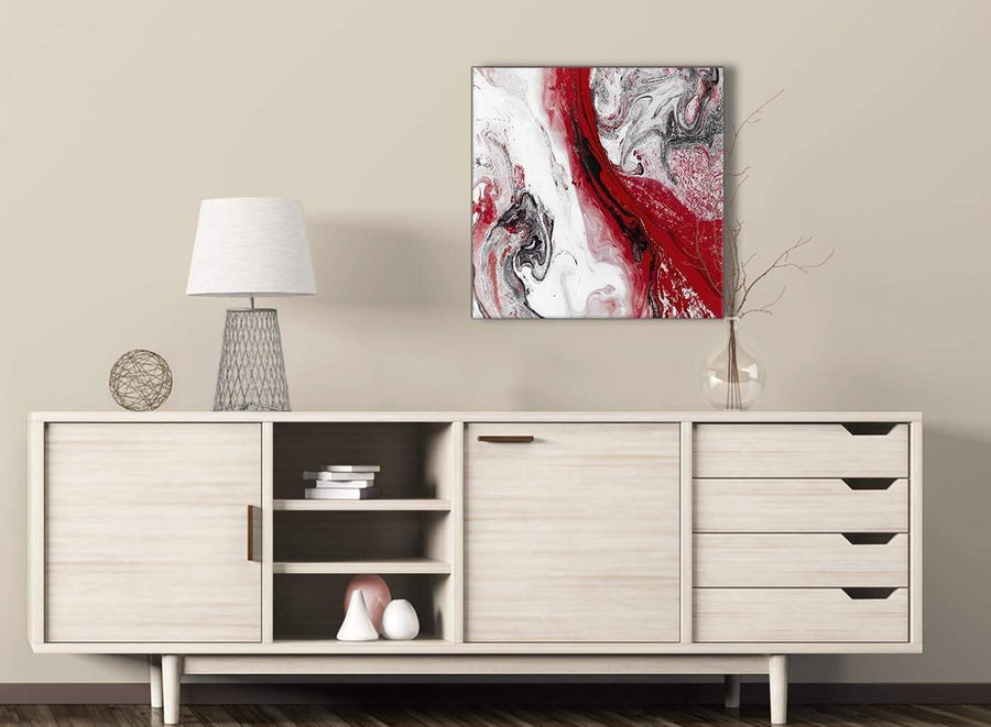 Red and Grey Swirl Hallway Canvas Pictures Decorations - Abstract 1s467m - 64cm Square Print