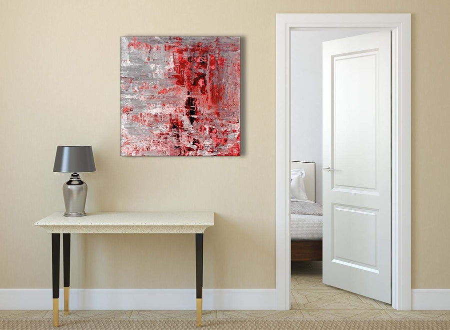 Red Grey Painting Abstract Hallway Canvas Wall Art Accessories 1s414l - 79cm Square Print