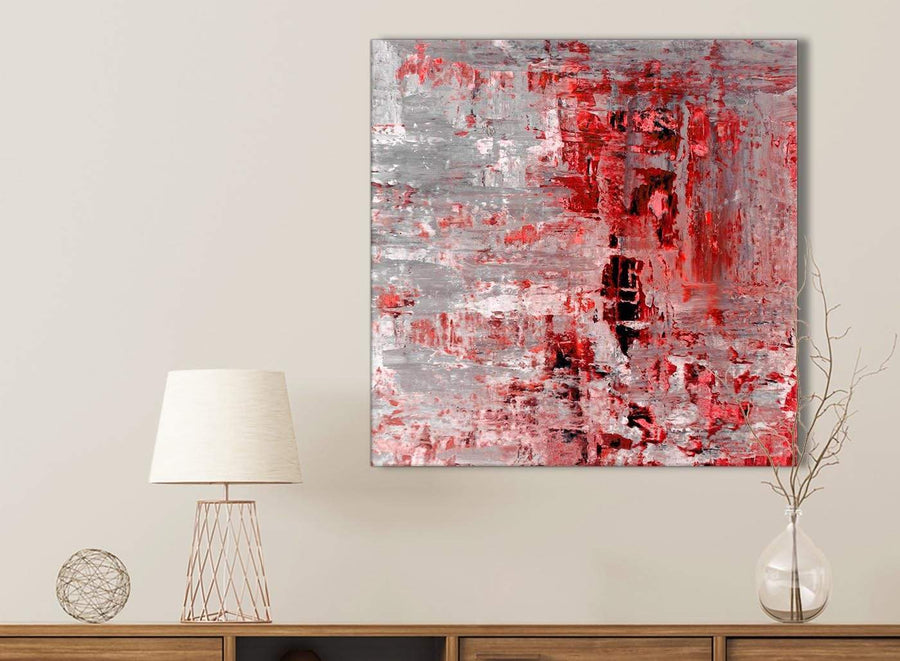 Red Grey Painting Bathroom Canvas Wall Art Accessories - Abstract 1s414s - 49cm Square Print