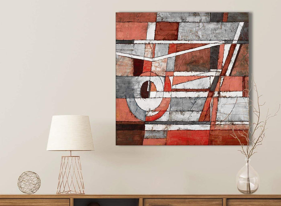Red Grey Painting Kitchen Canvas Pictures Accessories - Abstract 1s401s - 49cm Square Print