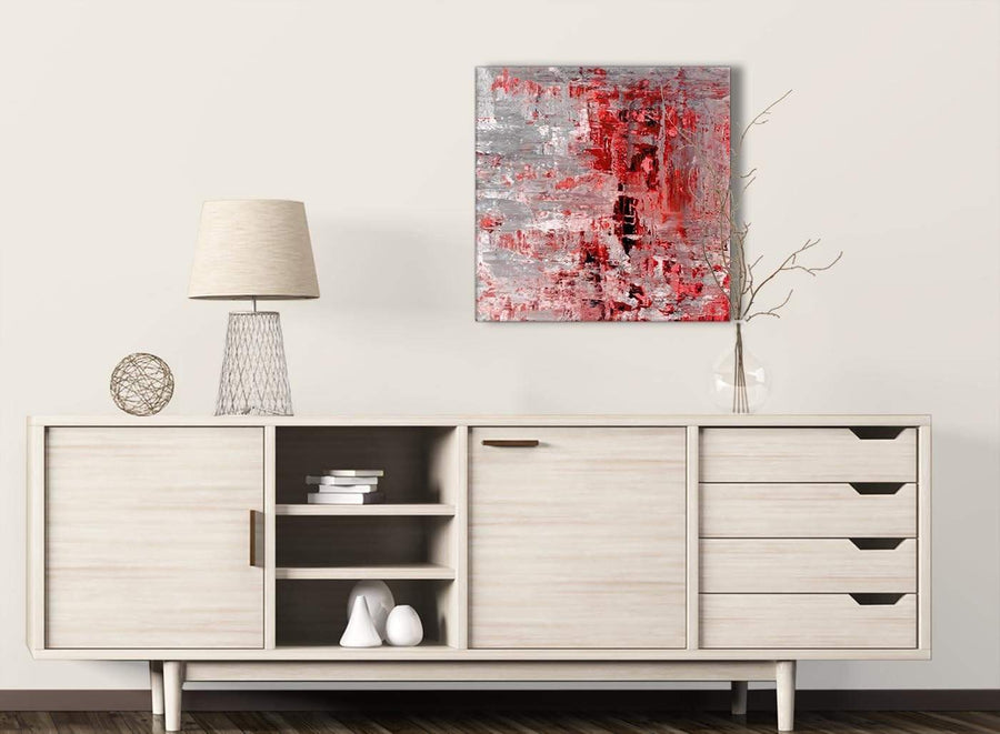 Red Grey Painting Living Room Canvas Wall Art Decor - Abstract 1s414m - 64cm Square Print