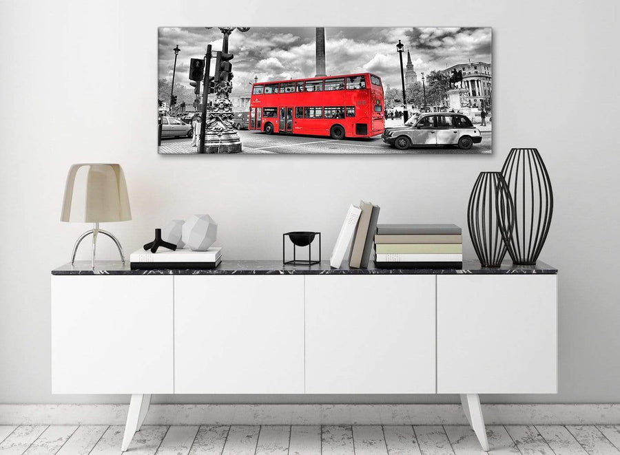 Red London Bus - Street Scene Cityscape Living Room Canvas Wall Art Accessories - 1210 - 120cm Print