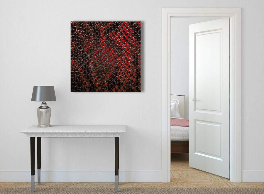 Red Snakeskin Animal Print Abstract Living Room Canvas Wall Art Decor 1s476l - 79cm Square Print