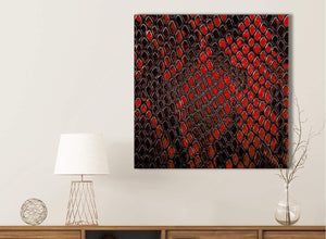 Red Snakeskin Animal Print Bathroom Canvas Wall Art Accessories - Abstract 1s476s - 49cm Square Print