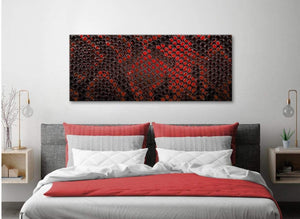 Red Snakeskin Animal Print Living Room Canvas Pictures Accessories - Abstract 1476 - 120cm Print