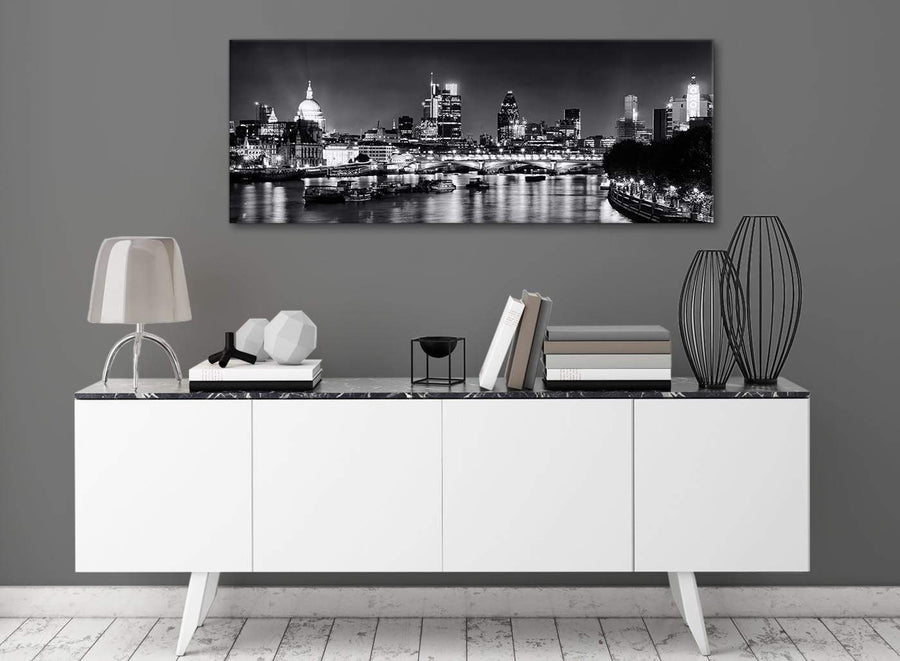 River Thames Skyline of London Canvas Wall Art - Landscape - 1430 Black White Grey - 120cm Wide Print
