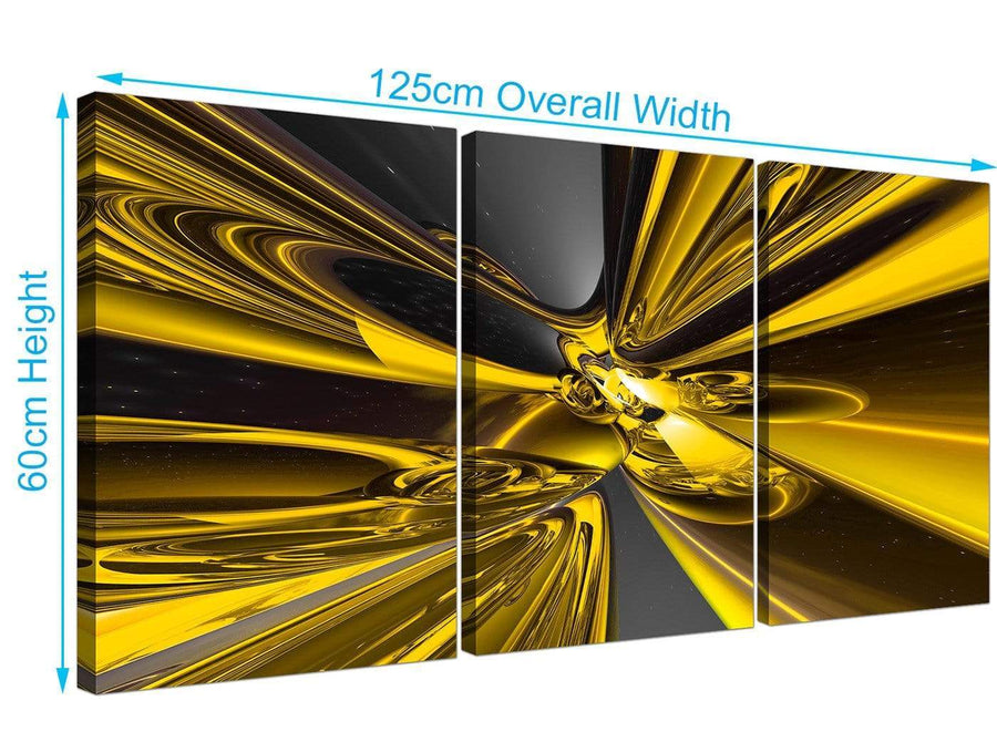 set of 3 abstract canvas prints yellow 3256