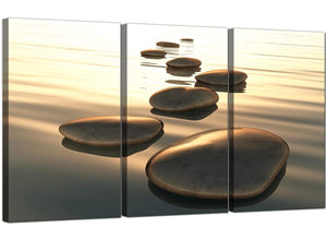 Set of 3 Modern Canvas Art Abstract Pebbles 3046
