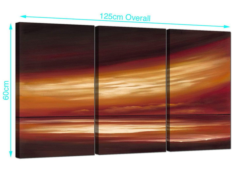 Set of 3 Abstract Sunset Canvas Pictures 125cm x 60cm 3147
