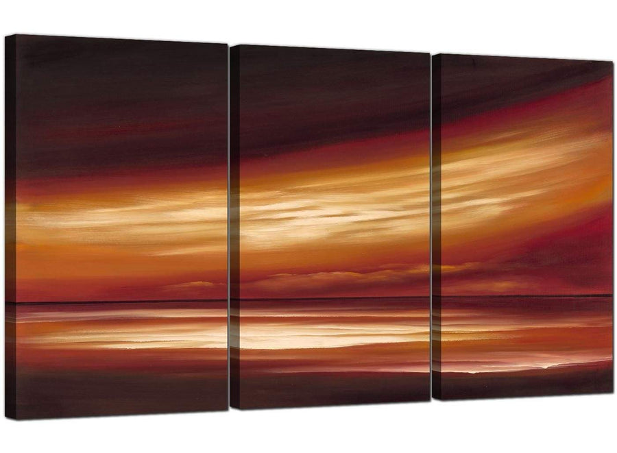 Set of Three Seascape Canvas Pictures Abstract Sunset 3147