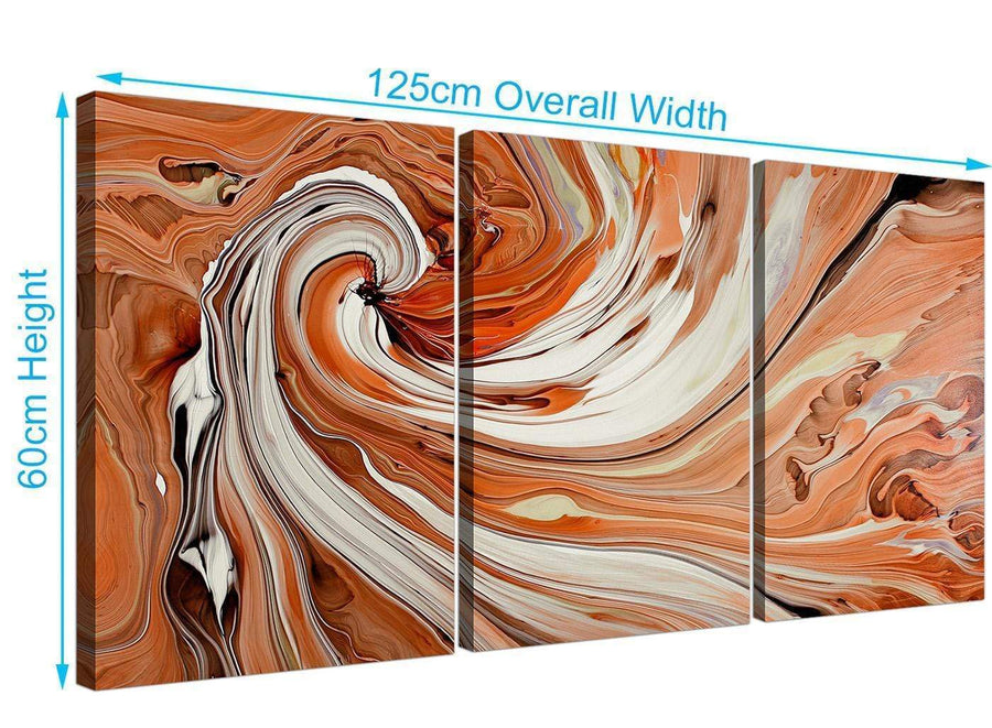 set of 3 abstract swirl canvas pictures orange 3264