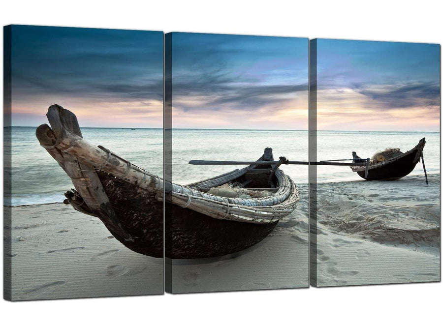 3 Panel Seascape Canvas Art Beach Boats 3107