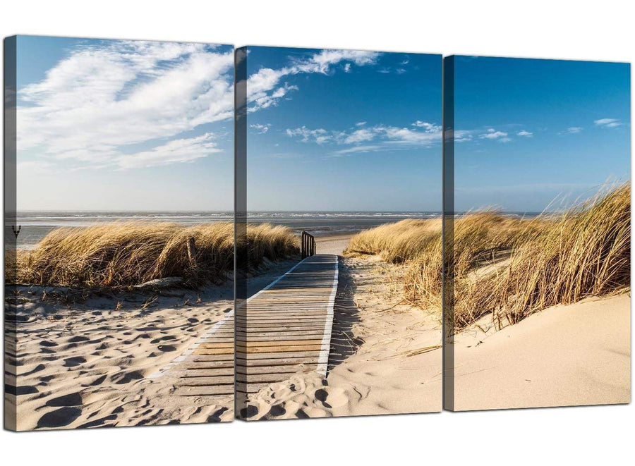 Set of Three Seascape Canvas Prints Beach Dunes 3197