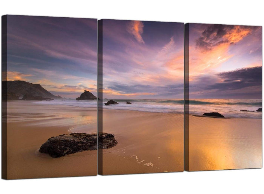 Set of 3 Seascape Canvas Prints UK Beach Sunset 3198