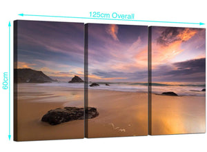 Set of Three Seaside Canvas Pictures 125cm x 60cm 3198