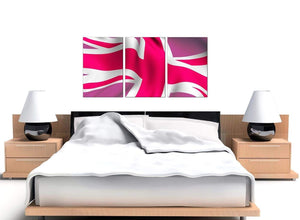 Pink White Union Jack Flag Abstract Modern Canvas Art
