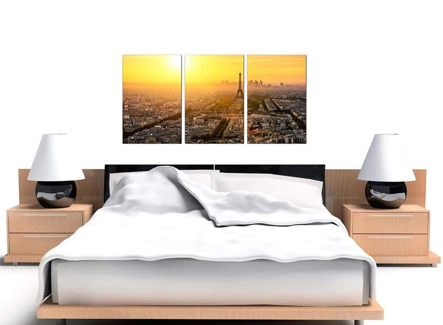 Sunset Skyline Eiffel Tower Yellow City Canvas