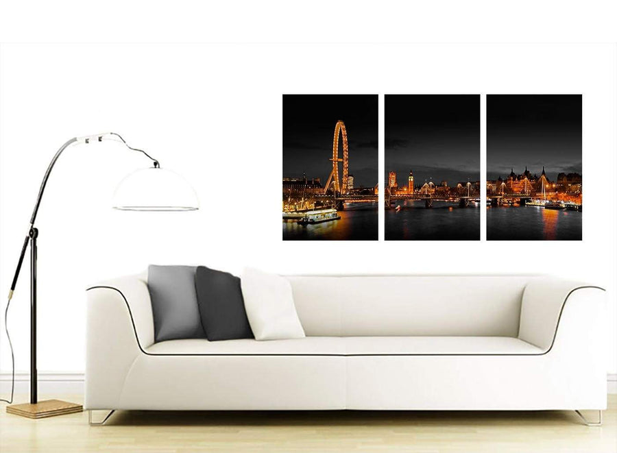 3 Part Cityscape Canvas Pictures 125cm x 60cm 3186