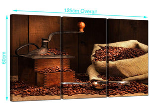 Three Part Coffee Beans Canvas Prints UK 125cm x 60cm 3062