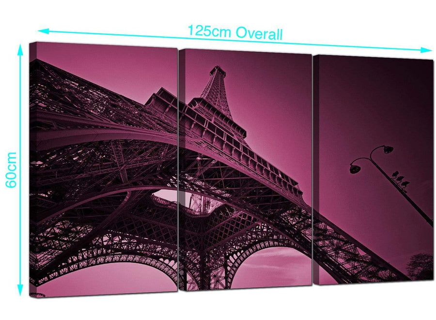 3 Part Eiffel Tower France Canvas Prints 125cm x 60cm 3015