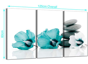 Set of 3 Flowers Canvas Wall Art 125cm x 60cm 3072
