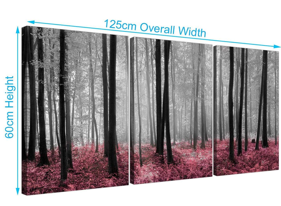 set of 3 forest woodland trees canvas prints black and white 3241