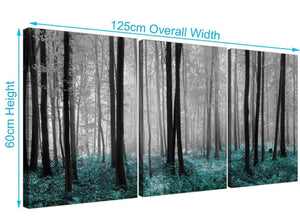 set of 3 forest woodland trees canvas prints black and white 3242