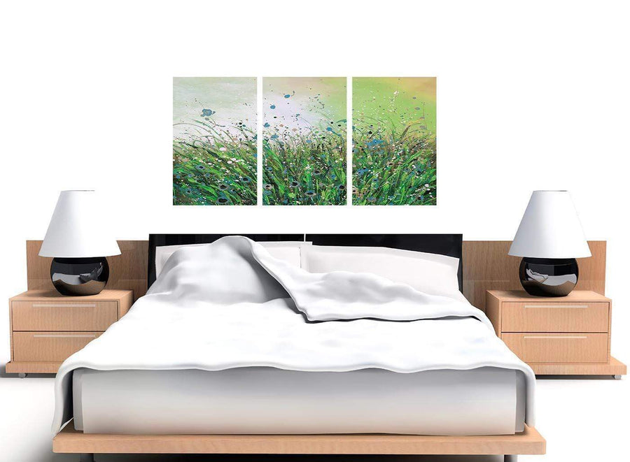 set of 3 green floral canvas art 3261