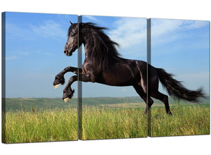 Set of 3 Countryside Canvas Wall Art Horse 3129