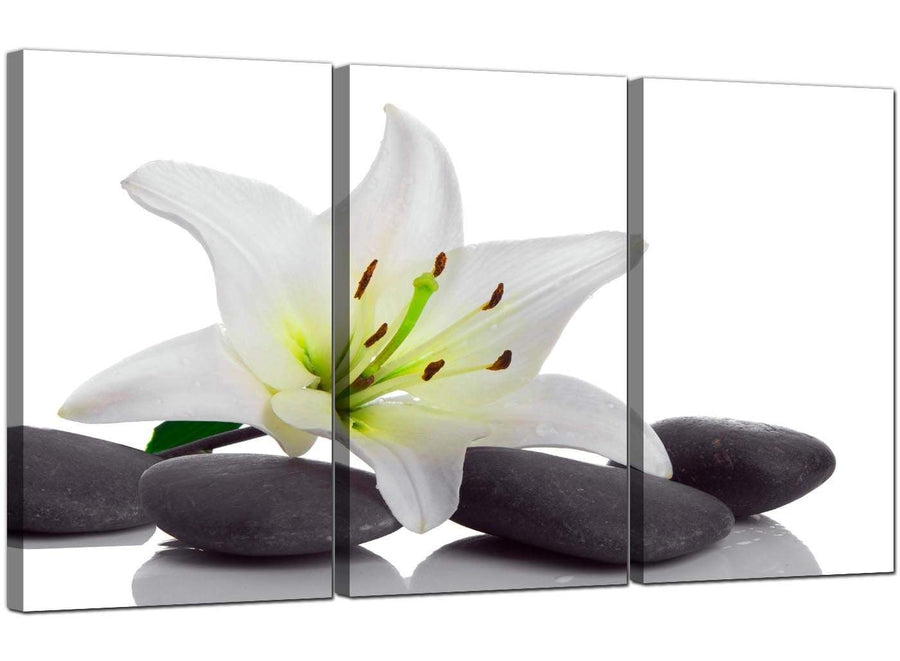 3 Panel Flowers Canvas Wall Art Lily and Pebbles 3024