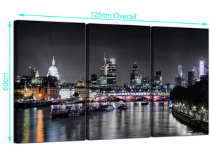 Set of 3 English Skyline Canvas Prints 125cm x 60cm 3211