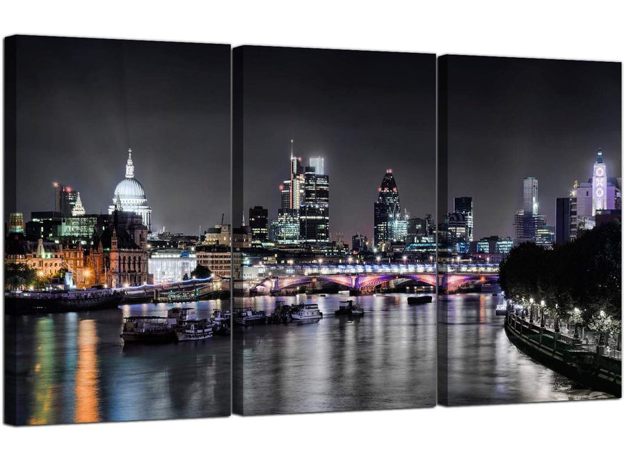 Set of 3 English City Canvas Art London Skyline Britain 3211