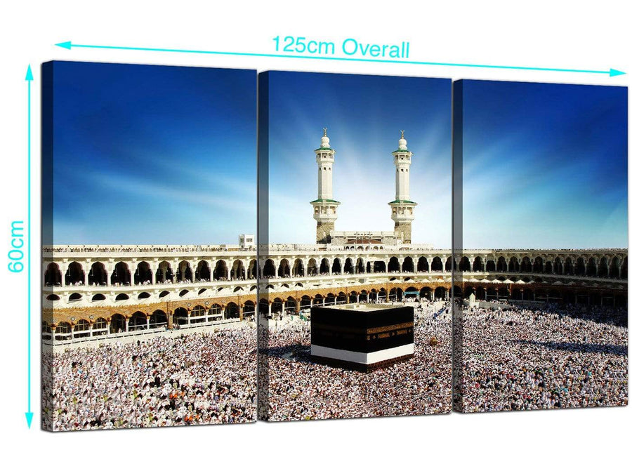 3 Panel Mecca Kaaba at Hajj Canvas Wall Art 125cm x 60cm 3191