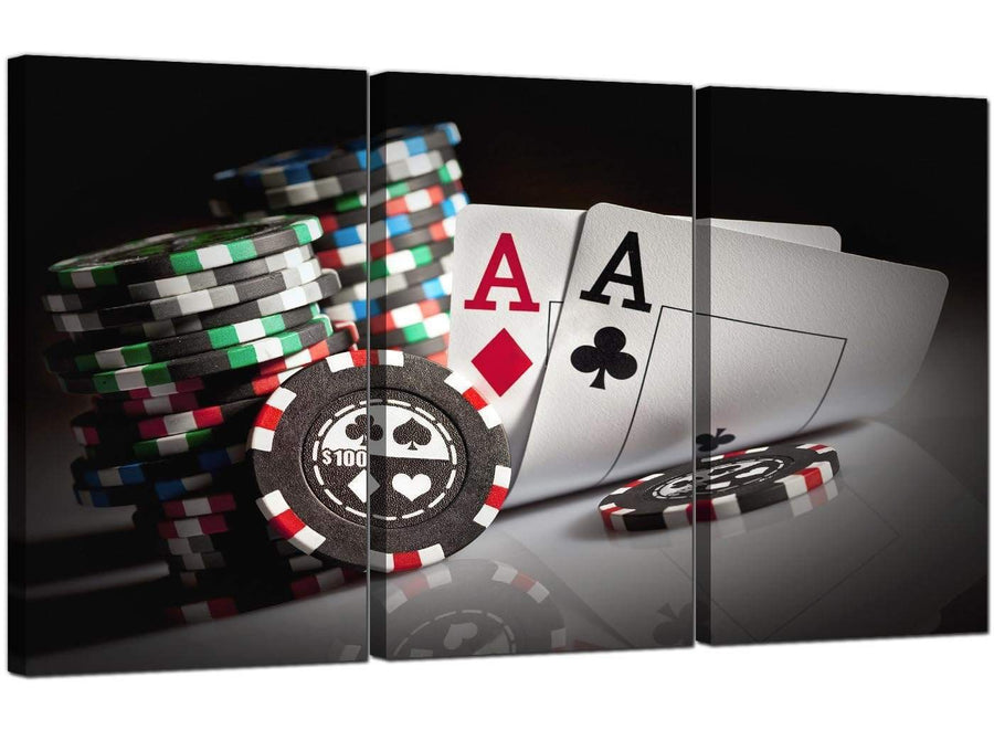 Set of 3 Games Canvas Prints UK Poker Cards 3048