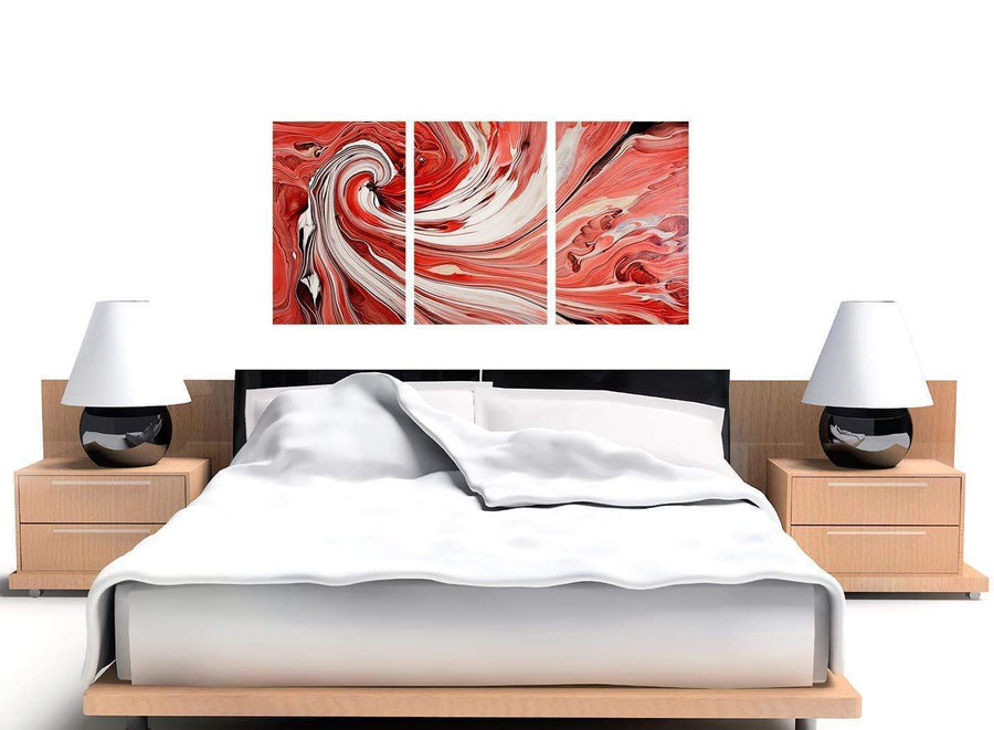 set of 3 red abstract swirl canvas wall art 3265
