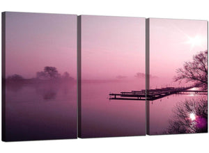 Set of 3 Countryside Canvas Wall Art Misty Dawn 3120