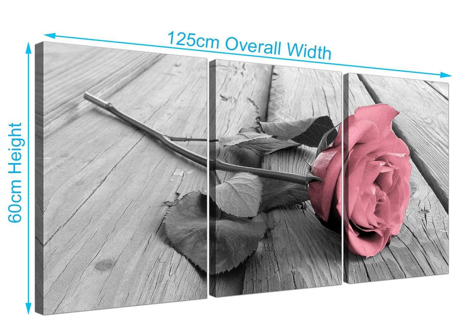 set of 3 rose canvas art black white and pink 3271